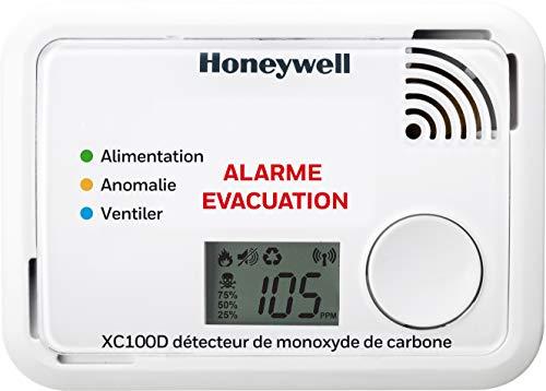 Honeywell Home XC100D-FR-A - Detector de monóxido de carbono, 10 x 3.6 x 7.2 cm