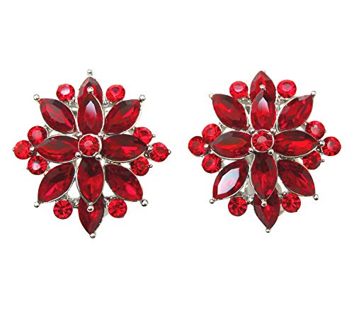 Faship Gorgeous Red Crystal Clip Ons Earrings - Red