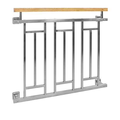 ECD Germany Balcón francés 156 x 90 cm, barandilla de balcón de efecto madera de acero inoxidable