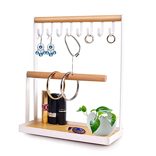 JOLIGAEA Jewelry Stand Holder, Display Stand with Wooden Ring Tray and Hooks, Jewelry Organizer To Store Necklaces, Bracelets, Rings, Watches