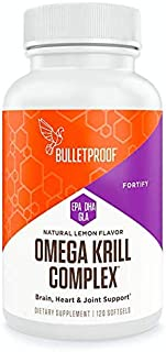 Bulletproof Omega Krill Complex, Triple Strength Essential Fats with EPA, DHA, GLA and Astaxanthin, 1560mg Omega-3s Per Serving, Lemon Flavored (120 Softgels)