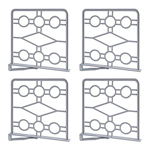 4 Stücke Kleiderschrank Regalteiler, Kleiderschrank Organizer Schrankteiler, Regaltrenner, Regalteiler Set, für Schlafzimmer, Bad, Küche und Büro (Grau)