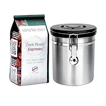 Mixpresso Stainless Steel Airtight Coffee Container with Date Tracking I For All Types Of Coffee | Vacuum Sealed Airtight Container | stainless steel coffee jar | Capacity-16 Ounces I Coffee Vault