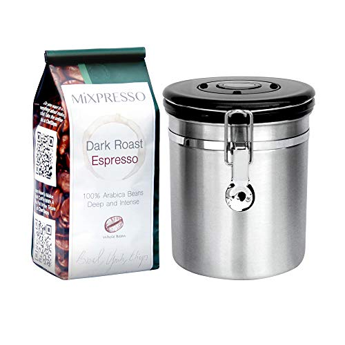 Coffee Container Airtight - Coffee Vault - by Mixpresso (Stainless Steel)