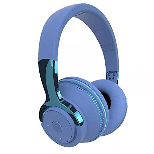 Auriculares plegables, auriculares para juegos inalámbricos auriculares con exceso de oreja auriculares de luz de respiración con micrófono azul