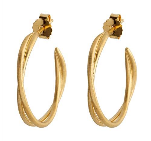 Pernille Corydon Creolen Gedreht Gold - Paris Serie Ohrringe Ohrstecker 925 Silber Vergoldet - E569gp