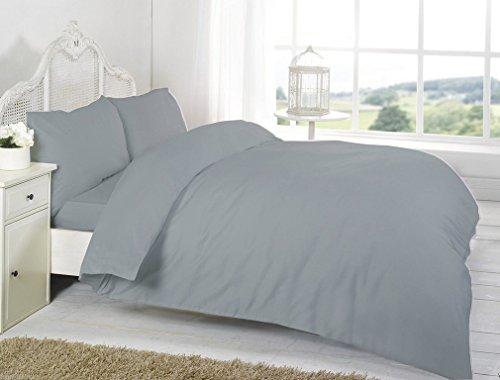 RB Luxury Polycotton Parcale Plain Dyed Duvet Cover & 2 Pillow Cases Bed Set (Single, Grey)