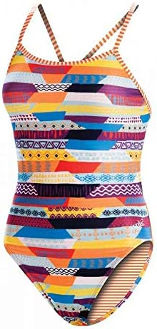 D1 Womens Uglies Stripe Life Double Strap Back One Piece Swimsuit Size 34 product image