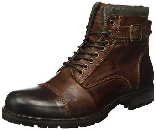 JACK & JONES Herren Jfwalbany Leather Boot Combat, Braun (Brown Stone), 44 EU