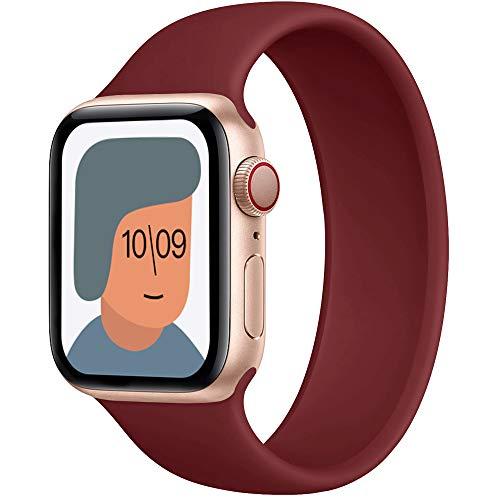 AUNDYYU Correa Solo Loop Compatible con Apple Watch 38mm 40mm 42mm 44mm para iWatch Series 6 SE 5 4 3 2 1, Silicona Elástica Pulsera Repuesto Deportiva Mujer Hombres, 38/40mm #04 Vino Rojo