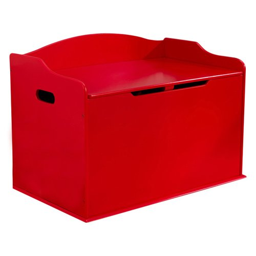 KidKraft Addison Austin Wooden Toy Box/Bench with Safety Hinged Lid-Red