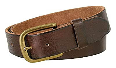 "Men's Full Grain Leather Casual Jean Belt 1-1/2"" (38mm) Brass Buckle (Brown, 36)"