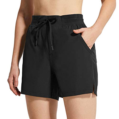 "BALEAF Women's 5"" Hiking Shorts with Zip Pocket Quick Dry Athletic Running Shorts Elastic Waist Black S"