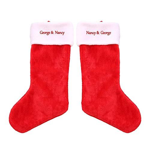 Calze Natalizie Personalizzate Natale Personalizzato Con Nome Calza Natalizia In Velluto Dorato Ricamo Calze Natalizie Personalizzate Regali Personalizzati(2 calzini 20,5 * 8,7 * 10 pollici)