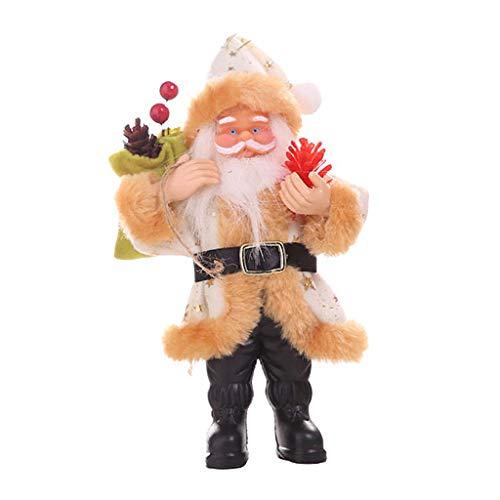 Weihnachtsschmuck Harz Weihnachtsmann Stehhaltung Ornamente Puppe Anhänger Baumanhänger Weihnachtsanhänger Geschenkbox Baumschmuck (Beige)