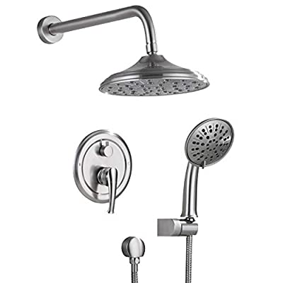 """HIMK Shower System, Wall Mounted Shower Faucet Set for Bathroom with High Pressure 8"""" Rain Shower head and 3-Setting Handheld Shower Head, Brushed Nickel ?Rough in Pressure Balance Valve Included?"""