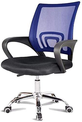 Chefsessel mit Rückenlehne, Netzstoff, Bürostuhl, verstellbar, mit Armlehnen, Sitzgelegenheit, Bürostuhl (Farbe: Blau)