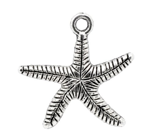 PEPPERLONELY 50pc Antiqued Silver Alloy Star Fish Stripe Carved Charms Pendants 25x25mm (1' x 1')