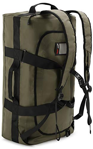 MIER 60L Water Resistant Backpack Duffle Heavy Duty Convertible Duffle Bag with Backpack Straps for Gym, Sports, Travel, Green