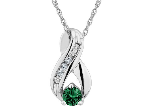 Created Emerald Infinity Pendant Necklace with Diamonds 1/5 Carat (ctw) in Sterling Silver with Chain