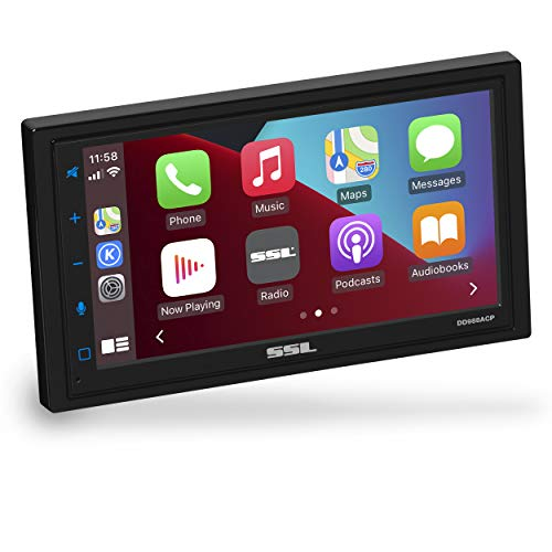 Sound Storm Laboratories DD988ACP Apple CarPlay Android Auto Car Multimedia Player - Double-Din, 6.75 Inch LCD Touchscreen, Bluetooth, USB, Aux in, No CD-DVD, AM/FM Car Radio