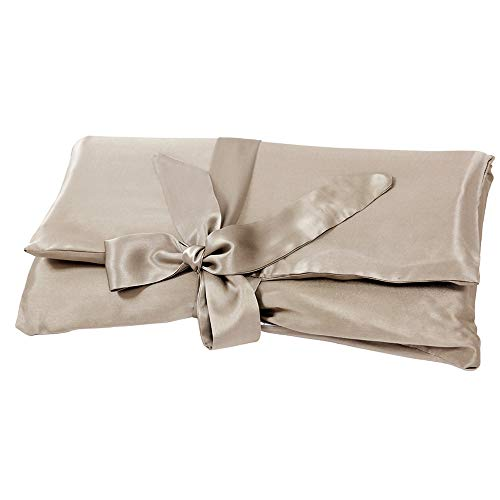 LilySilk Silk Travel Bag Storage Dust Bags for Silk Sleepwear Pillowcases Shoes Books Lingerie Soft Large with Zipper Coffee