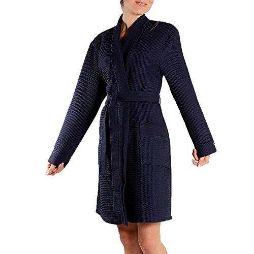 Taubert Spa Thalasso Short Kimono kurzer Bademantel 100 cm Pique XL Navy