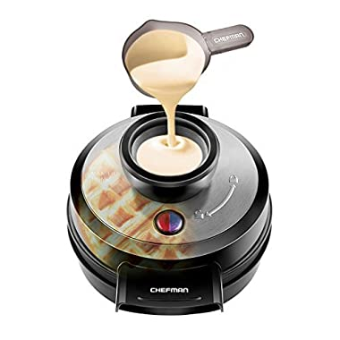 Chefman Belgian Waffle Maker, Round Waffle Iron, No Overflow Perfect Pour Volcano Best Small Appliance Award Winner - FREE Measuring Cup & Pour Spout