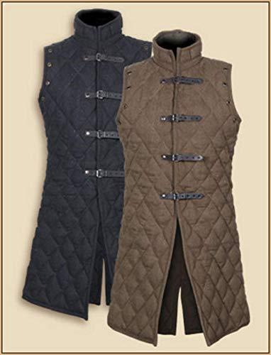 AnNafi Gambeson Mantel Aketon Jacke Rüstung Kostüme Kleid SCA Mittelalter dick gepolstert volle Länge, schwarz, XX-Large
