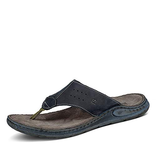 Josef Seibel Herren Flip Flops Leder Maverick 05,Weite G (Normal),Men's,zehenstegsandalen,flip,Flops,bequem,leicht,Sommer,Blau (Jeans),43 EU / 9 UK
