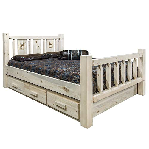 Read About Montana Woodworks Homestead Collection California King Storage Bed w/Laser Engraved Elk D...