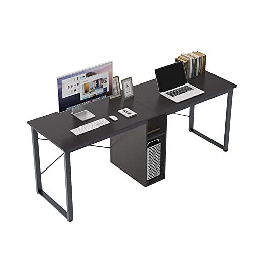 SDHYL Computer Desk, 78 inches Home Office Desks with Storage Shelves, 2-Tier Student Desk Double School Desk Simple Desk Rustic Desk Wooden Desk (Black)