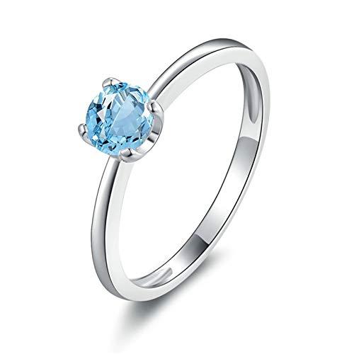 AmDxD Anillo Compromiso 925, Anillo Plata de Ley Mujer Redonda 5X5MM Azul Topacio| Plata| Tamaño 12| Regalo San Valentín (Circunferencia 52 mm)
