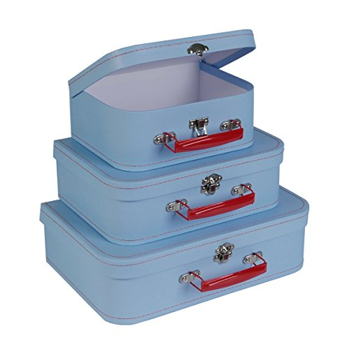 SLPR Cardboard Suitcase Boxes with Handle (Set of 3, Retro) | Light Blue Paperboard Boxes with Lids for Wedding Decoration Birthday Parties