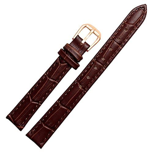 Correa de cuero Negro/blanco/rojo/marrón reemplazo Ver Banda, Brown Rose hebilla de oro, 10mm