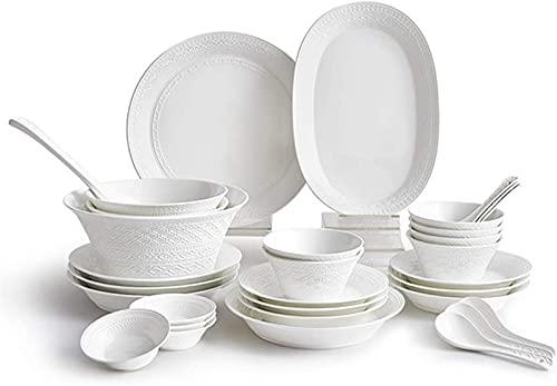 Juego de platos, Conjuntos de vajilla de arte de lujo de 32 piezas, alivio blanco puro, conjuntos de cena de cerámica, combinación completa de porcelana, lavavajillas y caja de seguridad de microondas