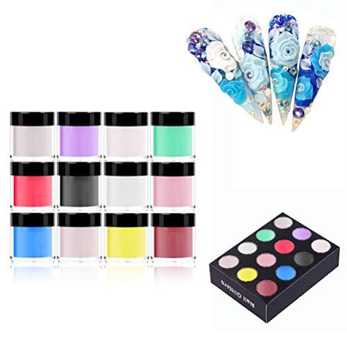 Halsey99 Acrylique Powders 12/18/24 Couleurs Poudre Acrylique Set pour Nail Art 3D Bricolage Conseils décoration Ongles Poudre