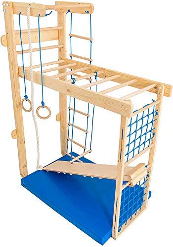 Kidsmont Kombi-Sprossenwand 5 in 1 ABNEHMBAR KLAPPBAR Sprossenwand Turnwand Klettergerust Indoor Kletterwand (Sprossenwand mit Matte, Blau)