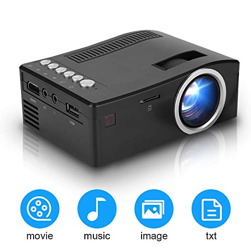 Mini-projector goedkope, draagbare home cinema LED-projector, 1080P full HD-videoprojector met 2000 uur levensduur van de lamp/stereoluidspreker, compatibel met AV/HDMI/USB/TF (EU-stekker)