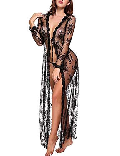 Mujer Ropa de Dormir Camisón Sexy Translúcido Elástico de Encaje Floral Sexy Lingerie Transparente Lace Lenceria Babydoll Ropa Interior (Ropa)