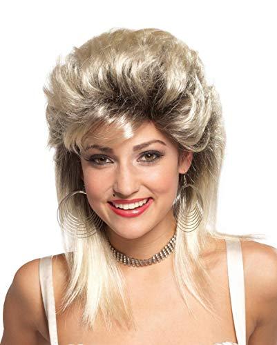 Horror-Shop 80er Jahre Rocker Braut Perücke Blond als Kostüm Zubehör für Mottparties und Karneval