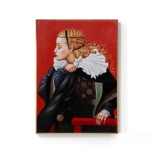 NOBRAND Caballero Medieval Europeo Hermosa Dama Pintura impresión affiche Retro Classique Arte de Pared para Sala de Estar Pasillo sin Marco-c_30x45cm