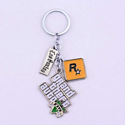 Magnifique Porte-clés Livraison Gratuite PS4 GTA 5 Jeu Keychain Grand Theft Auto 5 Porte-clés pour Hommes Fans Xbox PC Rockstar Peut déposer l'expédition Porte-clés (Color : Kc0065)