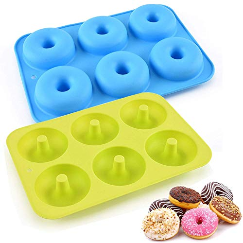 2 Pack Donut Pans, Silicone Donut Mold, Non-Stick Donut Baking Pan for 6 Full-Size Donuts, Bagels etc (Blue&Green)