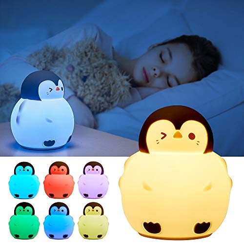 Cute Night Light for KidsPenguin Baby Girls Teenage Animal Portable Squishy Silicone Toddler Battery Operated Led Bedroom Touch LampNursery Color Changing Soft Led Nightlight Cute Gifts Children