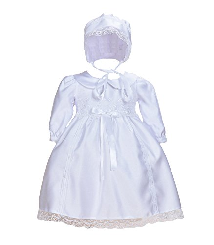 Cinda Weißes Baby-Satin-Langarm-Taufkleid mit Mütze Weiß 74-80