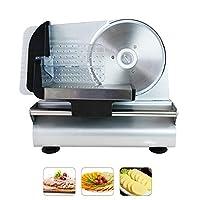電動フードスライサー150Wミートカッター、厚さ調節可能1-15mmパンチーズ野菜果物冷凍肉、家庭用小型鍋スライサー