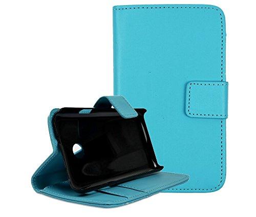 gada - Handyhülle für Huawei Ascend Y330 - Schicke Leder-Imitat Tasche Flipcase Wallet mit Magnetverschluss & Standfunktion - Hellblau