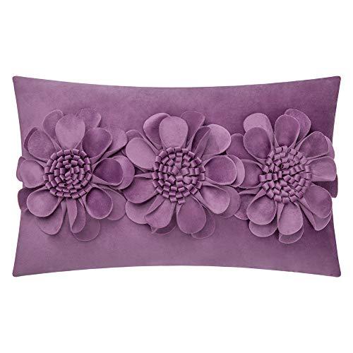 JWH 3D Rose Blumen Akzent Kissenbezug Home Sofa Bett Wohnzimmer Büro Stuhl Auto Reise Dekor Kissen Geschenk 30,5 x 50,8 cm Art Deco 12 x 20 Inch violett