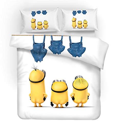 GD-SJK Minions Bettbezug Bettwäsche Set - Bettbezug und Kissenbezug,Mikrofaser,3D Digital Print kinderbettwäsche (155x220cm, A05)